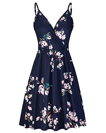 82b1f4430dffb STYLEWORD Women's V Neck Floral Spaghetti Strap Summer Casual Swing Dress  with Pocket