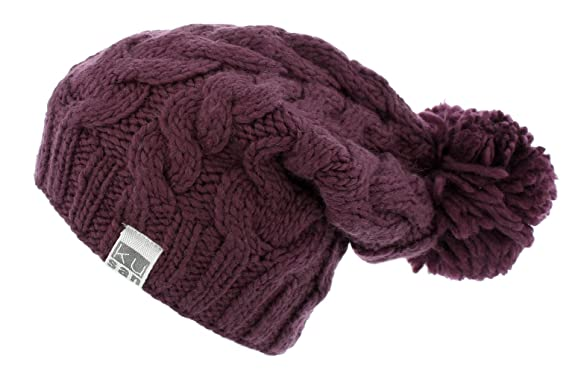 1a613e54a29736 Kusan (KU1501) 100% Wool Cable Knit Bobble Beanie hat (Mens/Ladies/Unisex)  (Berry Red): Amazon.co.uk: Clothing