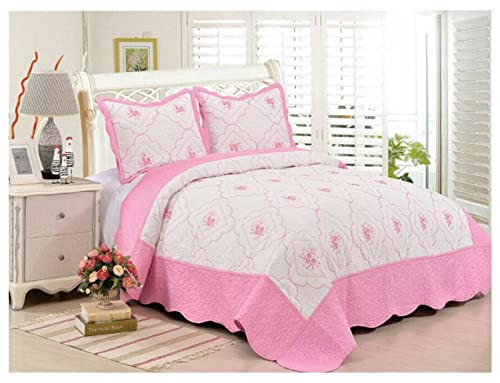 SkylineWears 3 Pc Quilt Set Embroidered Hypoallergenic Bedspread Pink