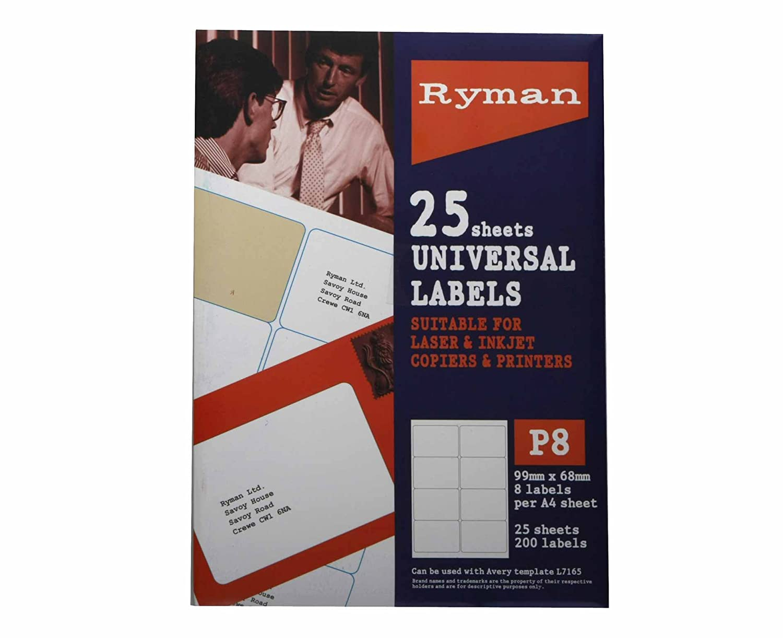 Ryman Address Labels P8 Universal 99x68mm 8 per A4 Sheet 25 sheets - Color: White