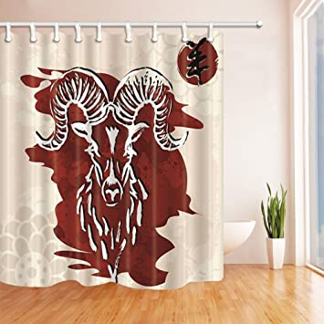Rrfwq Vector Painting Decor Chinese Sheep Shower Curtains Mildew Resistant Polyester Fabric Bathroom Decorations Curtain