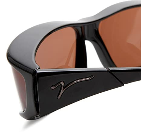 f024cbecc98 Vistana Polarized Fitover Med-Small Sunglasses Black Frame Copper Lens   Amazon.in  Clothing   Accessories