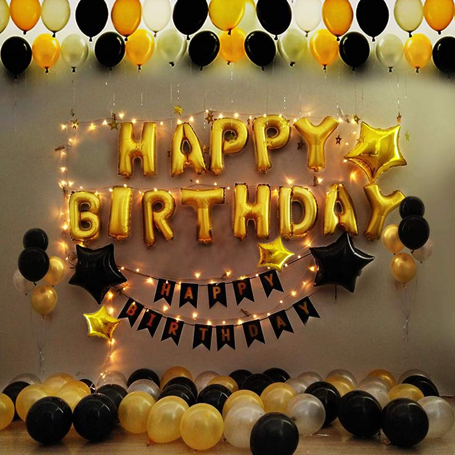Party Propz Happy Birthday Balloons Decoration Kit Items Combo 42pcs For Kids Boys Girls Adult Women Husband Quarantine Theme Decorations Black Gold Supplies Foil Balloon Latex Baloon Star And Banner Amazon In Toys Games