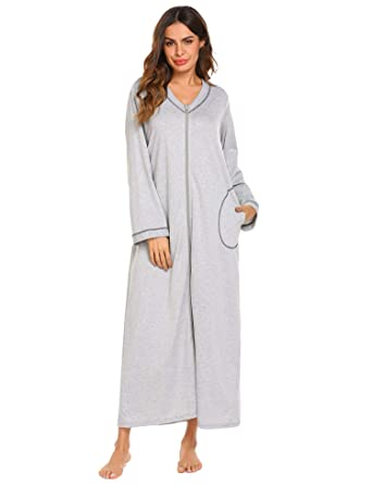 Ekouaer Night Shirt Womens Nightgown Robe Long Sleeve Nightshirt Full  Length V Neck Sleep Loungewear Zipper 49dc6b8a6
