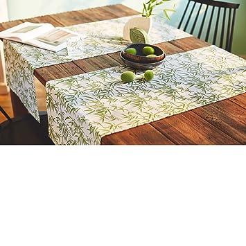Amazon De Tischlaufer Bamboo 100 Baumwolle Weiss Grun Ca 160