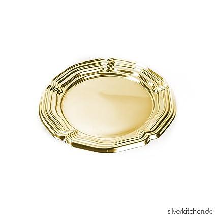 Bandeja de servir, de alta Class de plástico, desechables – oro, redondo,