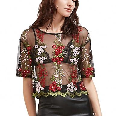 cffdb480242da Women s Blouses Tops Black Crochet Trim Flower Embroidered Mesh Top Summer  Round Neck Short Sleeve Vintage