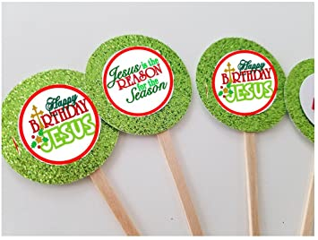 8 Jesus Is The Reason For A Season Christmas Cupcake Toppers Happy Birthday Party Supplies Holiday