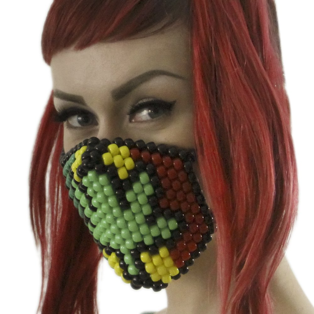 420 Rasta Marijuana Kandi Mask Weed Green White Surgical by Kandi Gear by Kandi Gear (Image #1)