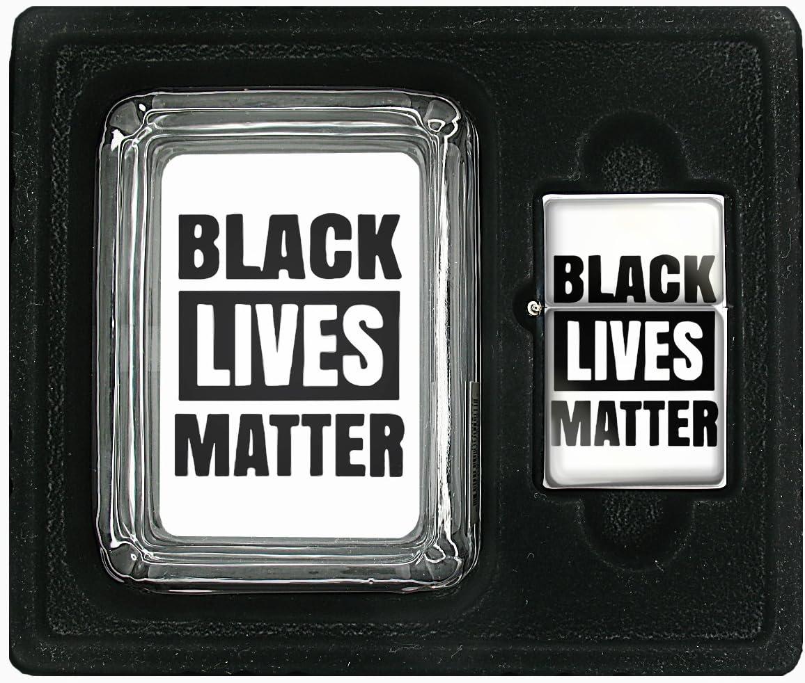 Black Lives Matter Square Glass AshTray and Oil Lighter Set