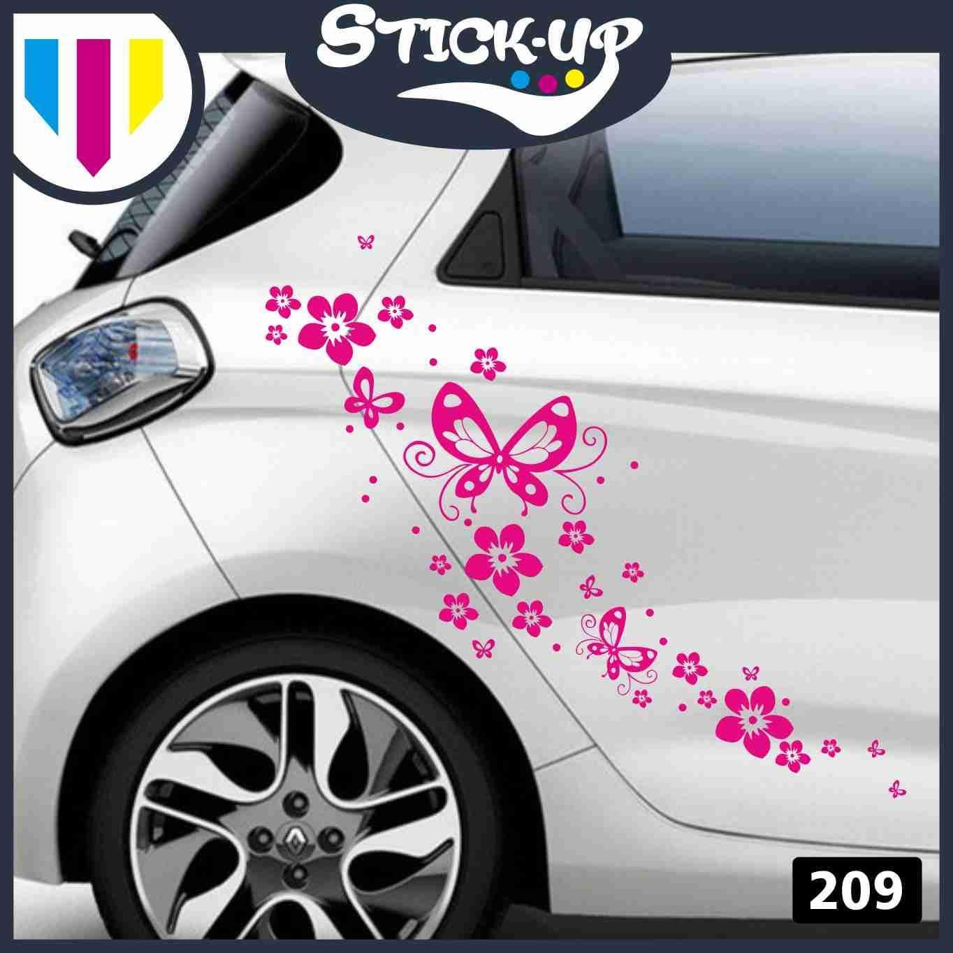 la moto Ideal para decorar el coche Kit de adhesivos para coche Stick-up verde el scooter Adhesivos para coche moto o furgoneta Dise/ño de flores y mariposas