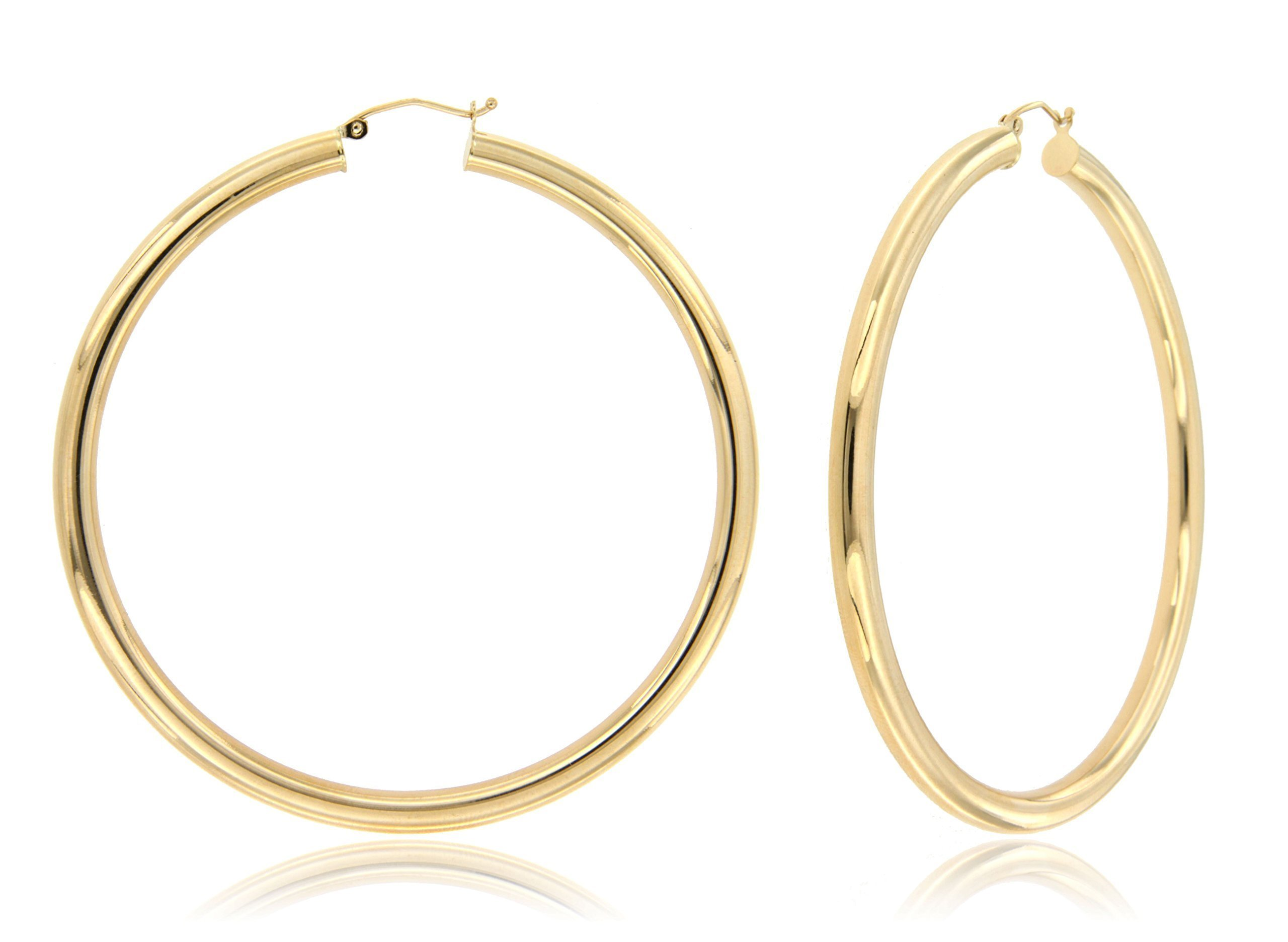 Balluccitoosi Plain Hoop Earrings - 14k Yellow Gold Earring for Women and Girls - Diamond cut Unique Jewelry for Everyday