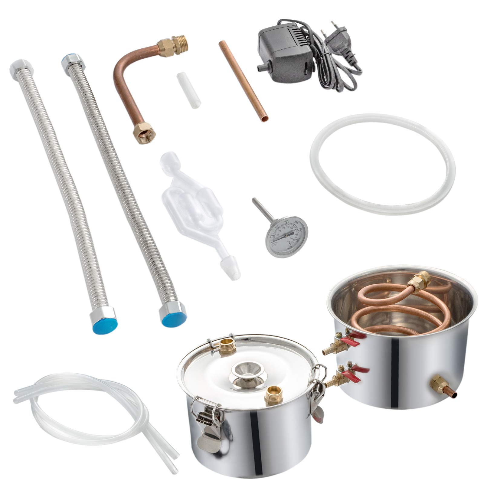 VEVOR Moonshine Still 5 Gal 21L Stainless Steel Water Alcohol Distiller Copper Tube Home Brewing Kit Build-in Thermometer for DIY Whisky Wine Brandy, 3 pots by VEVOR (Image #9)