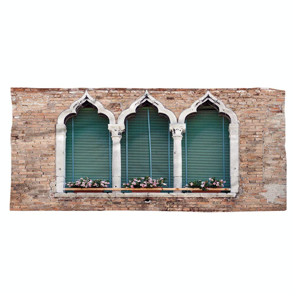 iPrint Large Cotton Microfiber Beach Towel,Venice,Traditional Ancient Gothic Style Windows with Flower Pots on Brick Wall,Light Brown White Blue,for Kids, Teens, and Adults