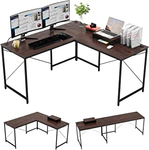"""Bestier L-Shaped Gaming Desk, 95.2"""" Two Person Large Computer Office Desk, Adjustable L-Shaped or Long Desk with Free Monitor Stand, Home Writing Desk Table Build-in Cable Management, Walnut Brown"""