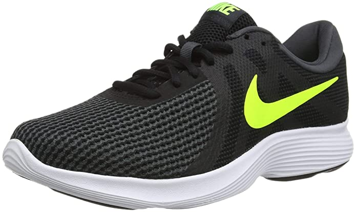 Nike Revolution 4 Herren schwarz mit gelbem Streifen (Black/Volt/Anthracite)