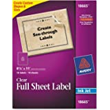 Amazon avery 5972 high visibility laser labels 1 x 2 58 avery clear full sheet inkjet mailing labels saigontimesfo