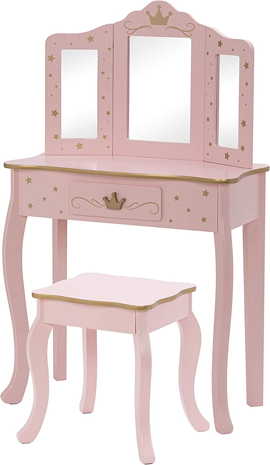 UTEX Pretend Play Kids Vanity Table and Chair Vanity Set with Mirror Makeup Dressing Table with Drawer,Play Vanity Set,Pink