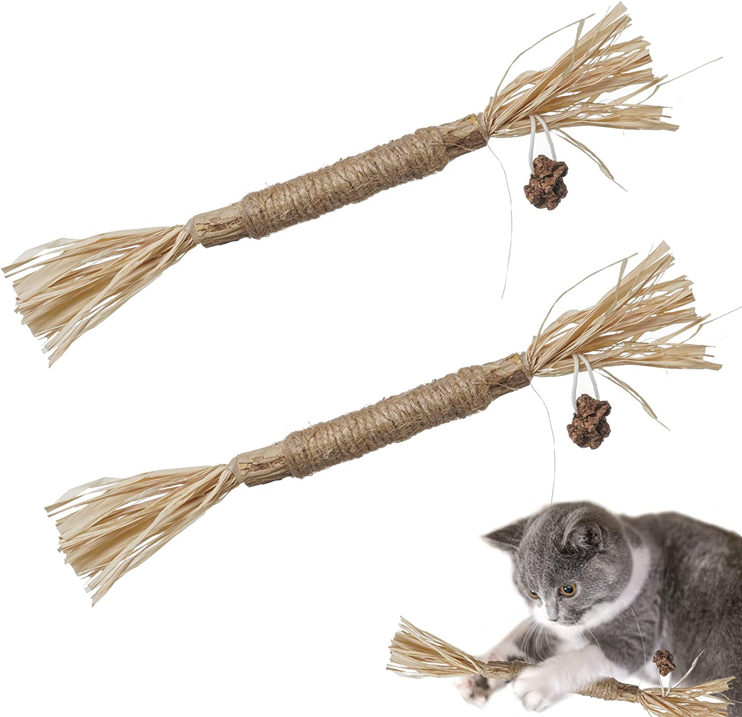 N\C Catnip Toy Cat Toy Indoor,cat Chewing Natural silvervine Sticks,Make The cat Happy cat Kick Interactive,Teeth Cleaning Edible Natural to Promote Cat's Appetite,Suitable for All Cats