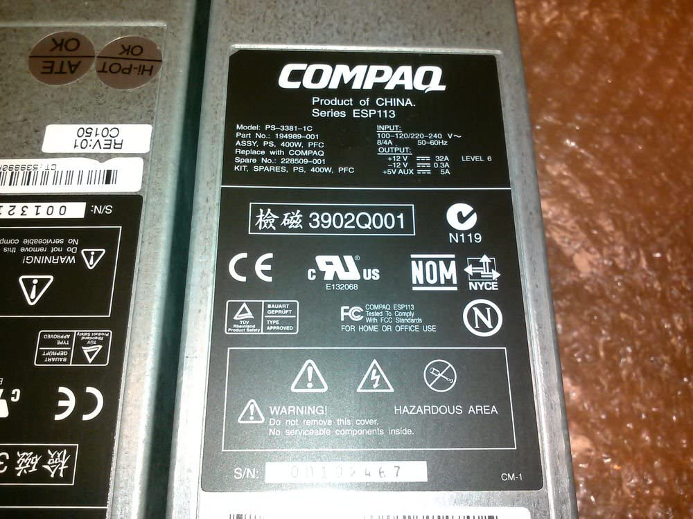 COMPAQ PS-3381-1C COMPATIBLE ONLY,400W HOT SWAPPABLE POWER SUPPLY