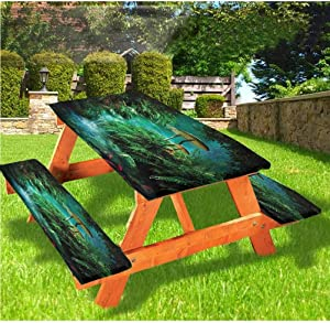 Fantasy Picnic Table and Bench Fitted Tablecloth Cover,Fantasy River Fish Mushroom Elastic Edge Fitted Tablecloth,28 x 72 Inch, 3-Piece Set for Camping, Dining, Outdoor, Park, Patio