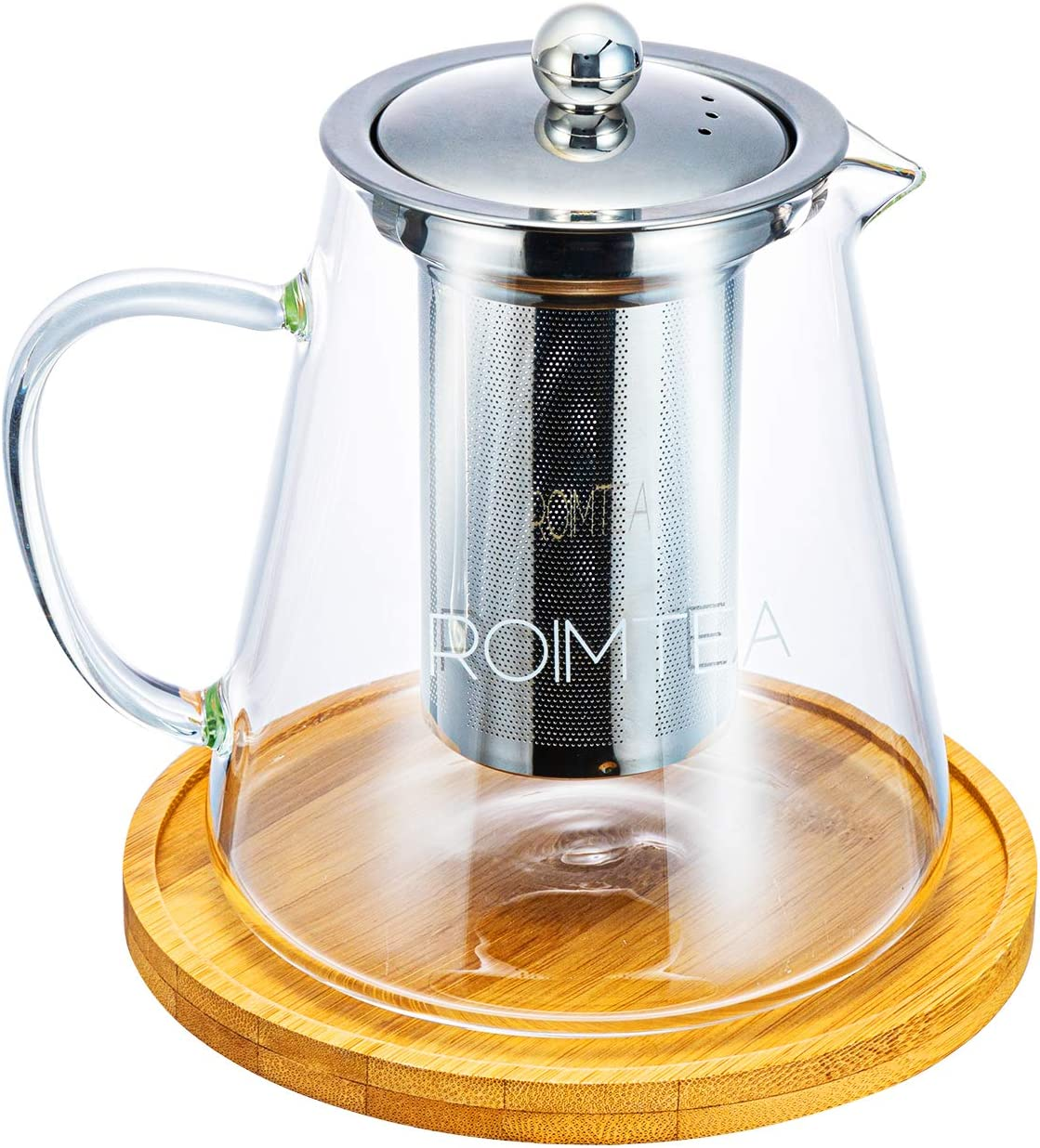 Glass Teapot with Stainless Steel Removable Infuser for Loose Leaf Tea, Bonus Tea Kettle & Infuser Coaster, Microwave & Stovetop Safe, Gift Box, 950ml/32oz