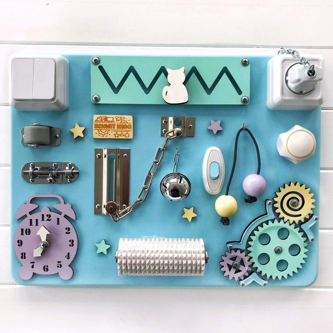 Busy Board Activity Board Montessori Principles Natural Learning | Latch Locks Board | Educational Activity Toy | Activity Board Boys | from The Manufacturer (Blue)