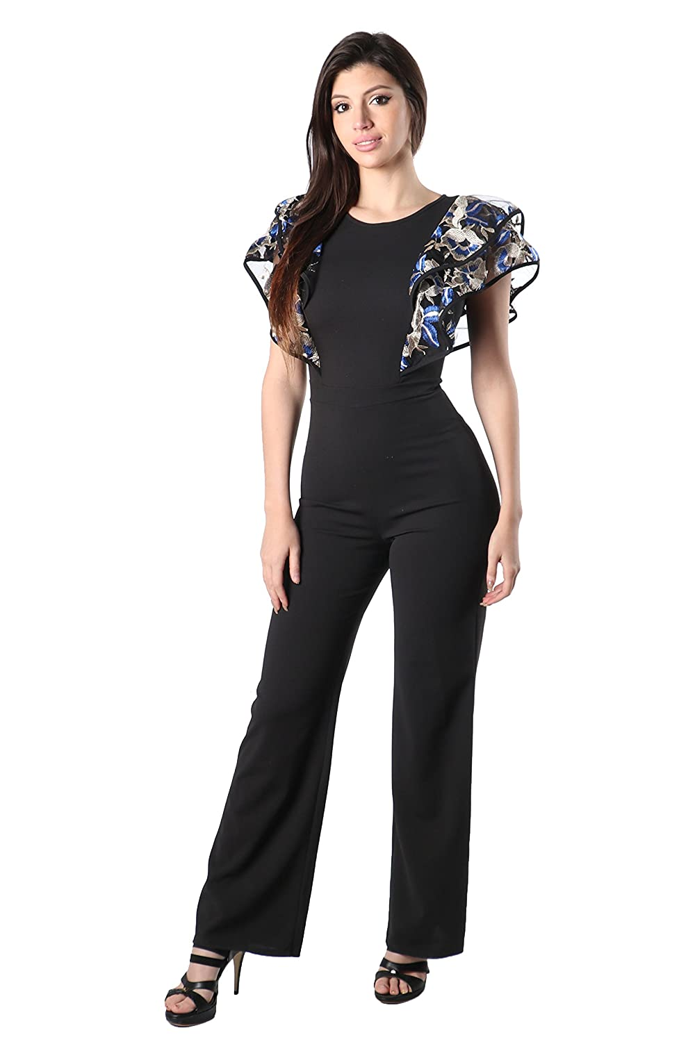 bluee_mj80650 ShopWTD Womens Floral Embroidered Ruffle Layered Sleeves Solid Bodycon Fitted Jumpsuit