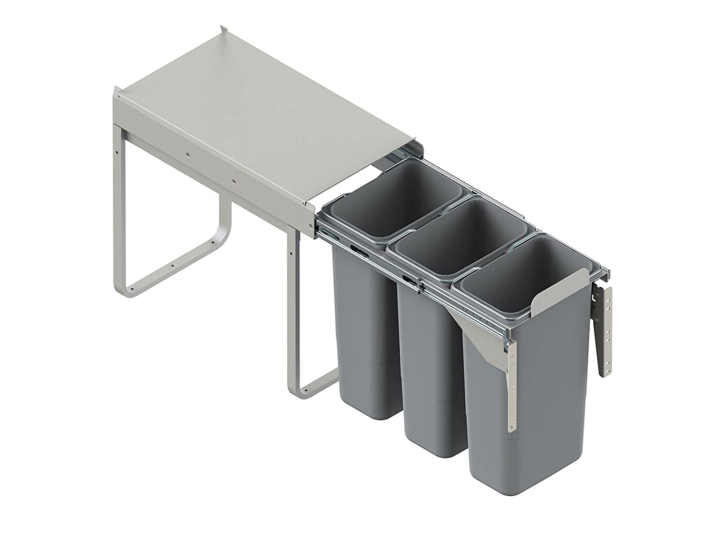 RECYCLE BIN PULL OUT SOFT CLOSE KITCHEN WASTE BIN 300MM - 30 LTR (JC-604) by REJS (with front fixing brackets)
