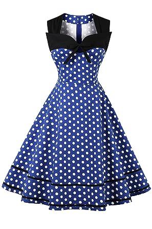 Axoe Damen 60er Jahre Polka Dot Retro Vintage Rockabilly Kleider