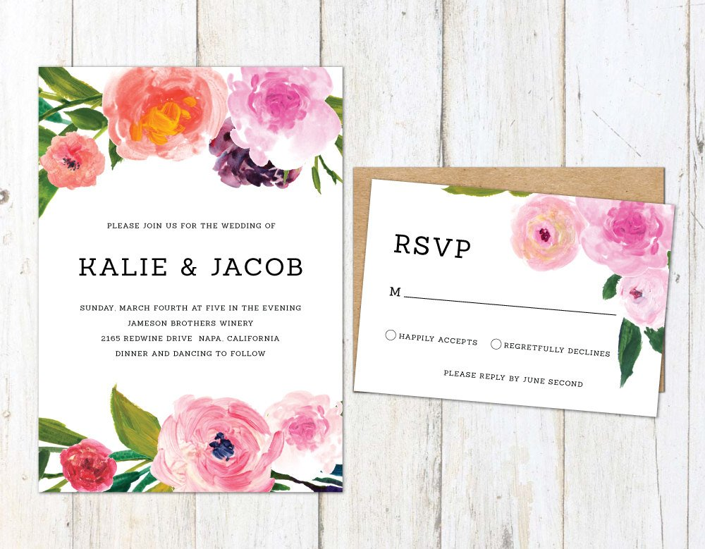 Spring Wedding Invitation, Painted Floral Invitation, Colorful Flowers Wedding Invite