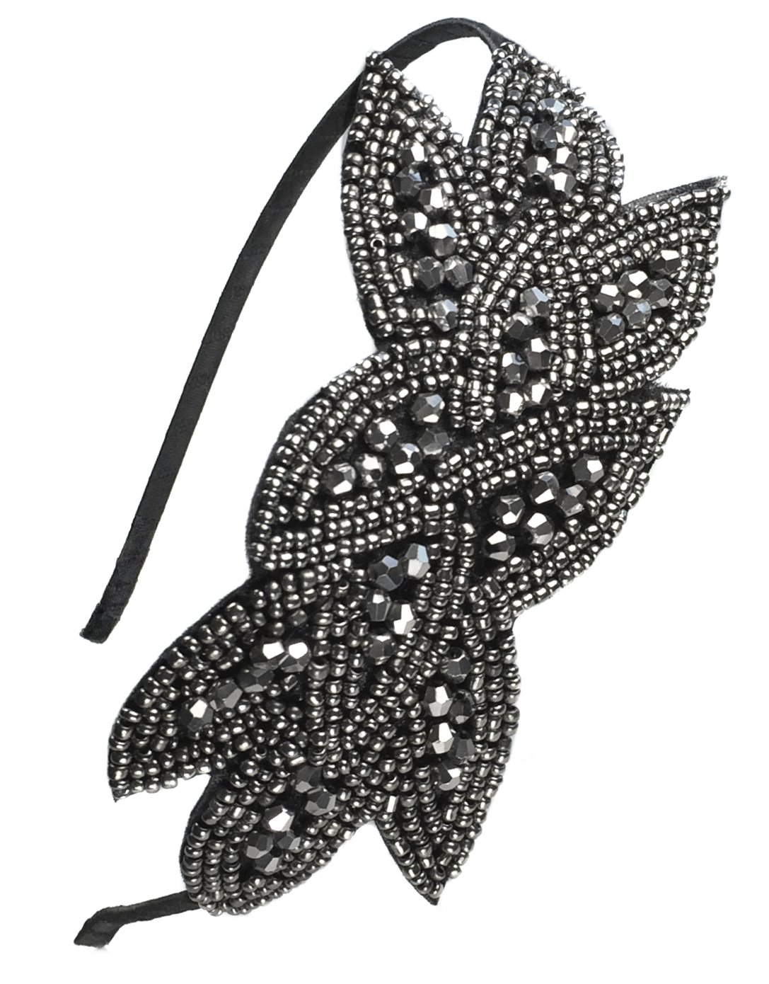 Beaded Flapper Headband Leaf Vintage 1920s Inspired Hairband Hair Accessory, Grey by CB Accessories (Image #6)
