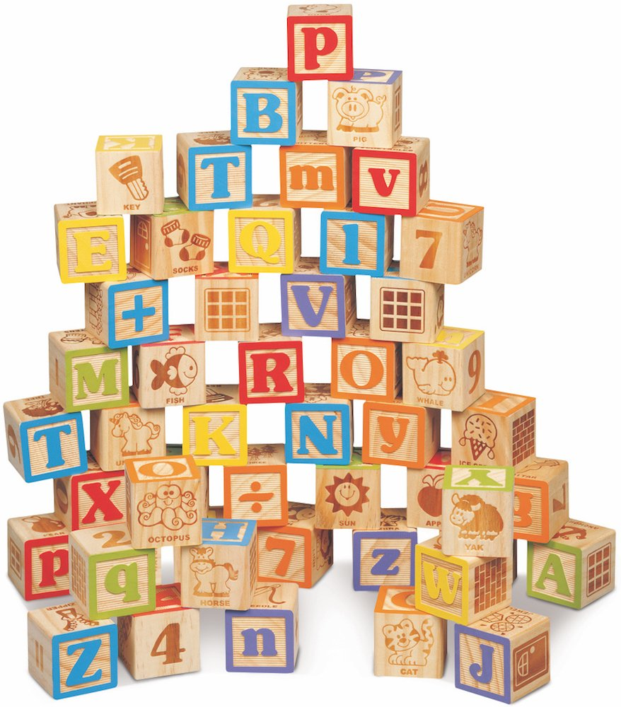 Maxim Deluxe Wooden ABC Blocks. Extra Large Engraved Baby Alphabet Letters Counting Building Block Set