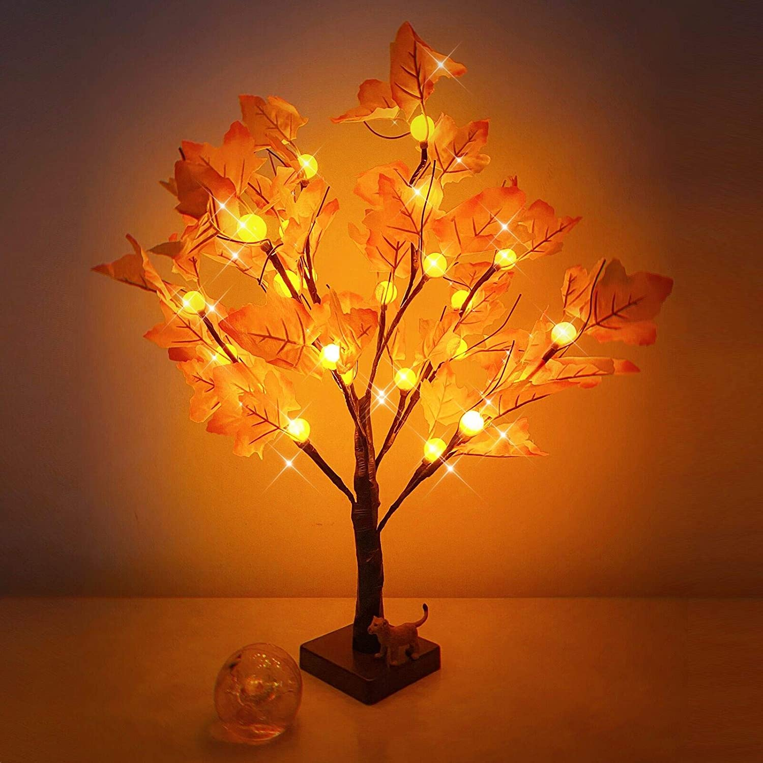 Amazon Com Artificial Fall Lighted Maple Tree 24 Led Pumpkin Lights Halloween Thanksgiving Decorations Table Lights Battery Operated For Autumn Decoration Wedding Party Gifts Indoor Outdoor Harvest Home Decor Home Kitchen