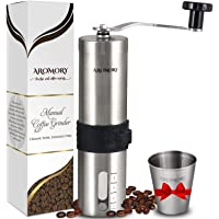 Manual Coffee Bean Grinder, Hand Held Conical Ceramic Burr Mill for Precision Brewing, Portable, Brushed Stainless Steel- Heavy Duty For K-cup, Espresso, French Press, Turkish- Free Bonus Gift