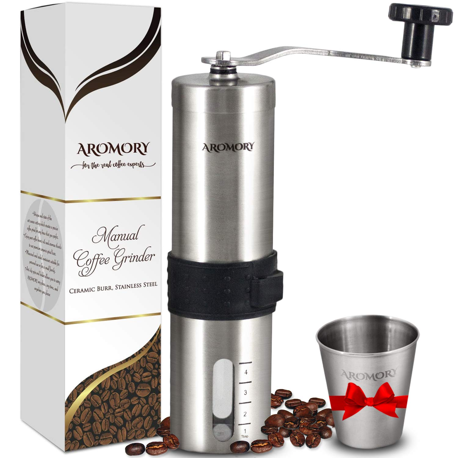 Manual Coffee Bean Grinder, Hand Held Conical Ceramic Burr Mill for Precision Brewing, Portable, Brushed Stainless Steel- Heavy Duty For K-cup, Espresso, French Press, Turkish- Free Bonus Gift by AROMORY