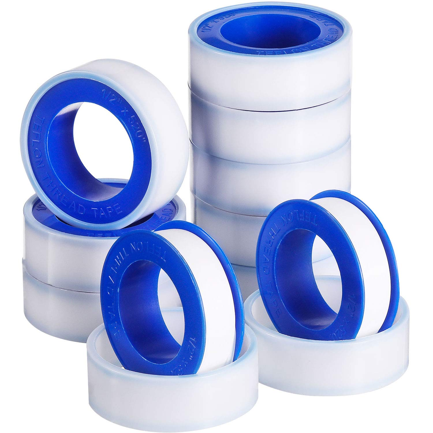 Skylety 10 Rolls Thread Seal Tapes, PTFE Pipe Sealant Tape (White, 1/2 by 520 Inches)