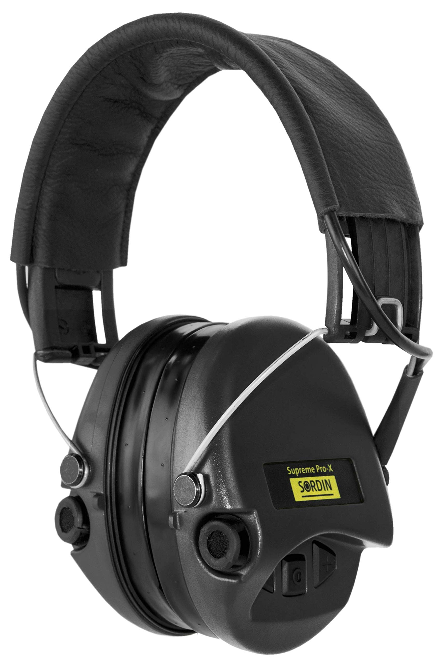 Sordin Supreme PRO X, Active Hearing Protection, Noise Reduction Safety Ear Muffs, for Shooting, Hunting, Work, with Gel Seals, Black Leather Headband and Cups