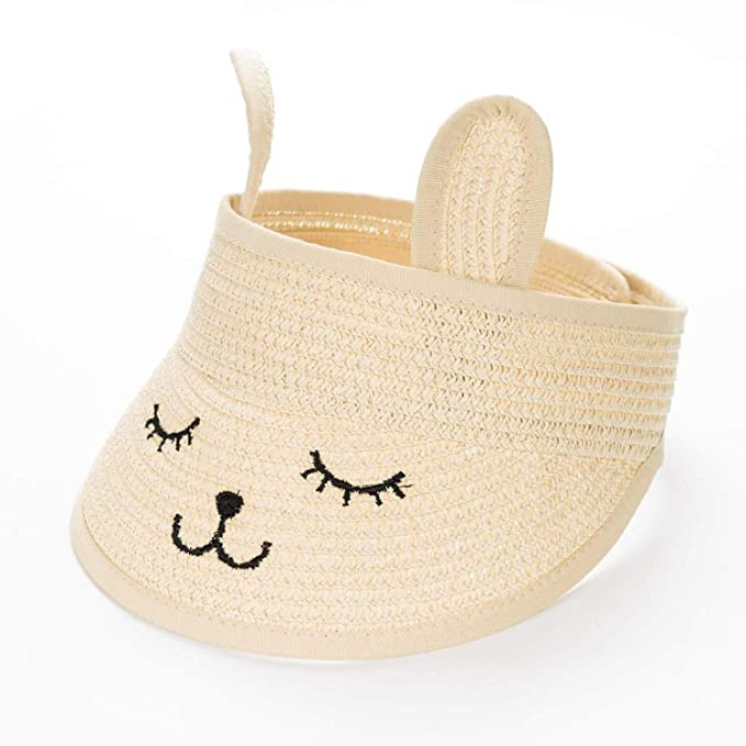 caf4ccc4348 Image Unavailable. Image not available for. Color  Fashion Ears Straw Hats  Baby Hats for Girls Bucket Hat Cap Children Sun Summer Cap Kids