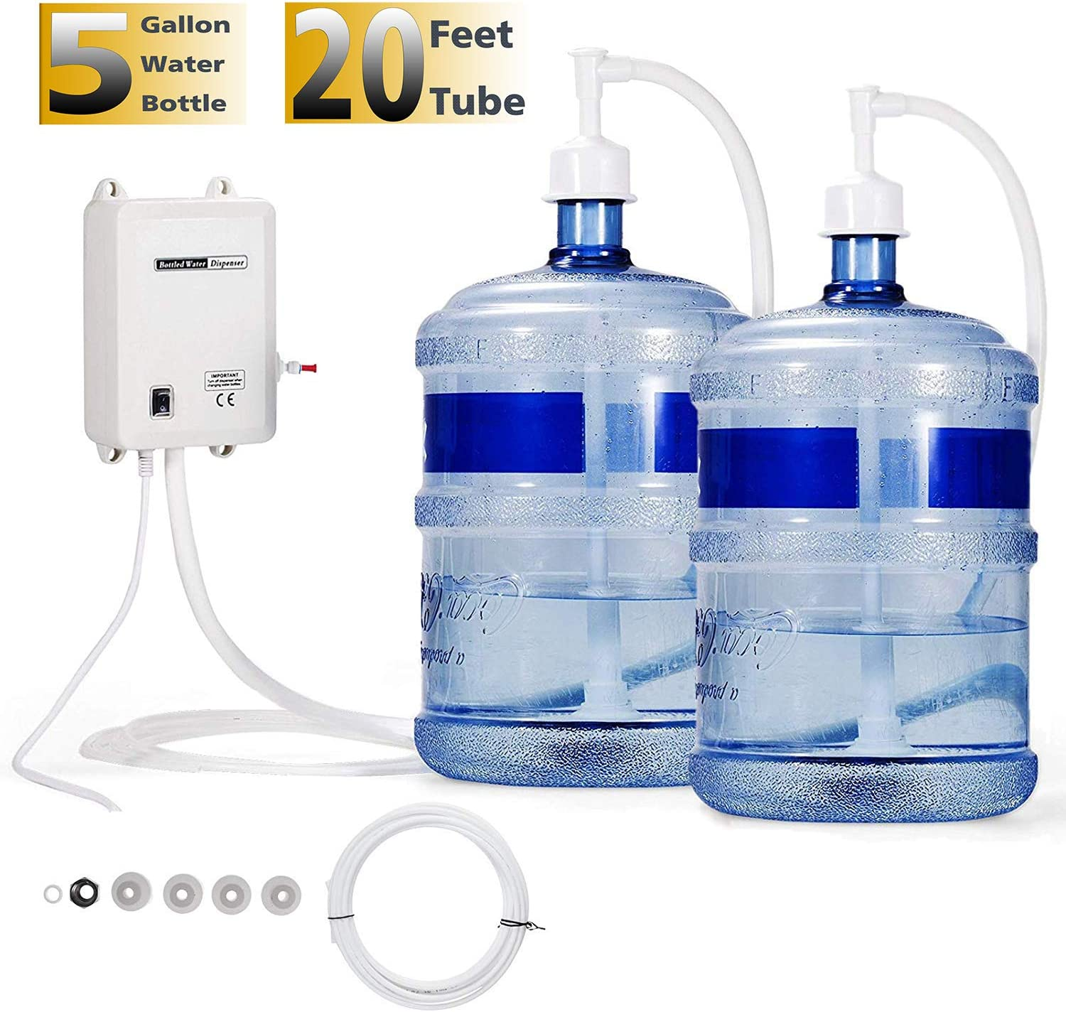 VEVOR Water Dispensing System 20 ft with US Plug 115V AC Perfect for 5 Gallon Bottle, Doubel Inlet