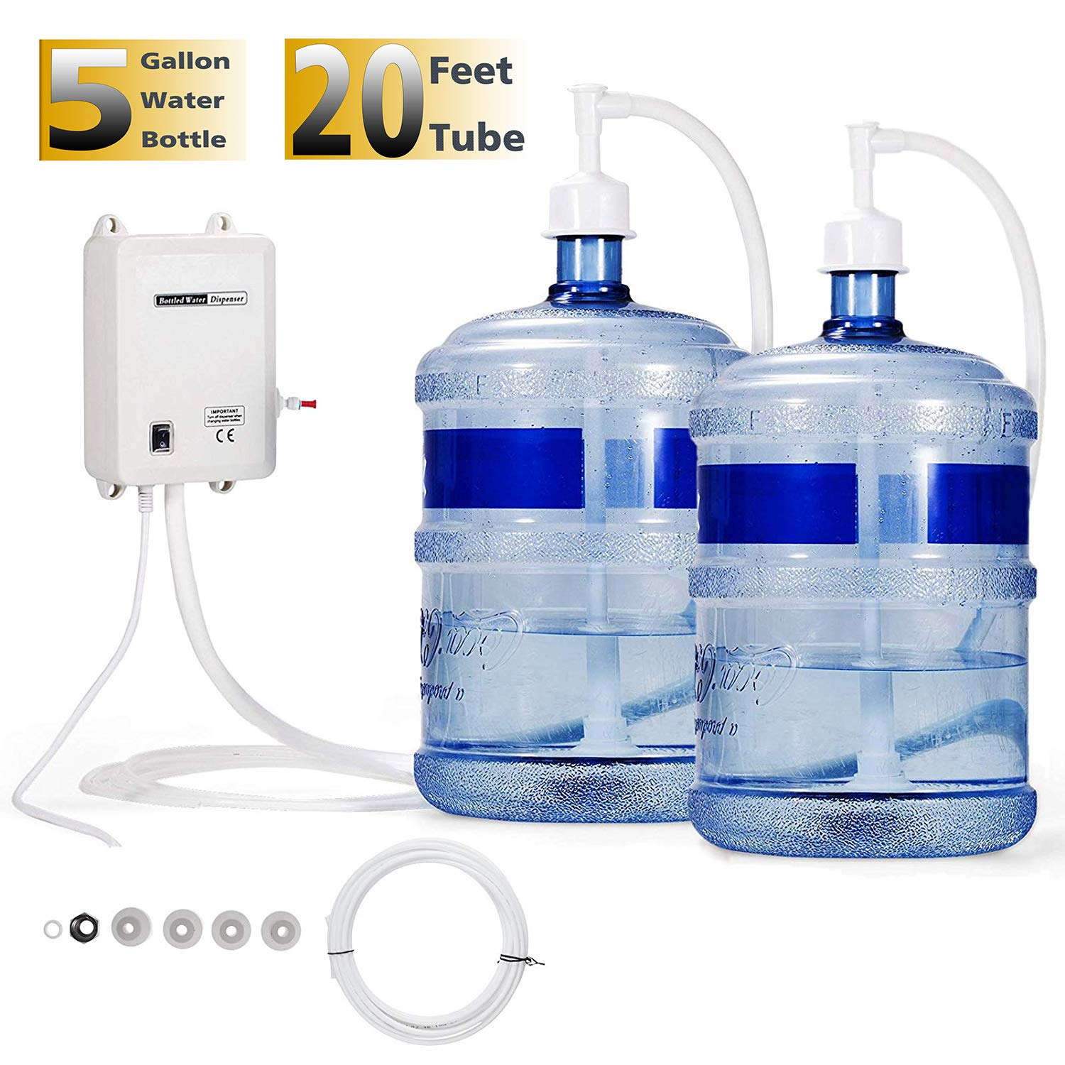 VEVOR Water Dispensing System 20 ft with US Plug 115V AC Perfect for 5 Gallon Bottle, Doubel Inlet by VEVOR
