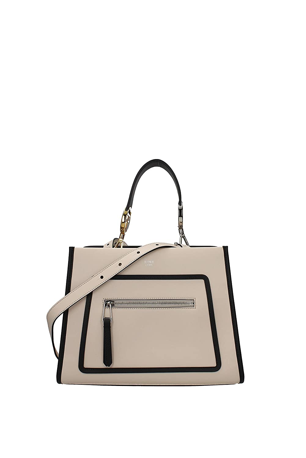 fad99880653 Amazon.com: Fendi Shopping Bag Runaway Calf Camelia Cream Beige and Black  Leather Shopping tote Handbag w Palladium Hardware 8BH344: Shoes