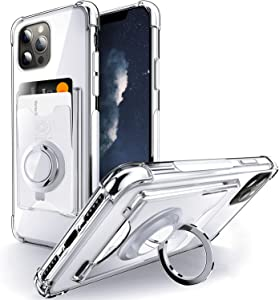 Shields Up Designed for iPhone 12 Pro Max Case, Minimalist Wallet Case with Card Holder and Ring Kickstand/Stand, [Drop Protection] Slim Protective Cover Apple iPhone 12 Pro Max (6.7 inch) - Clear
