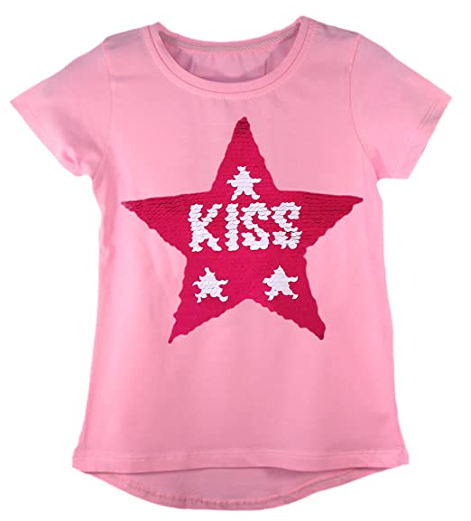 35929eb62 Amazon.com: Kids Girls Changing Sequin Sizes Heart Butterfly Tops Brush Love  Star 3-14 Years: Clothing