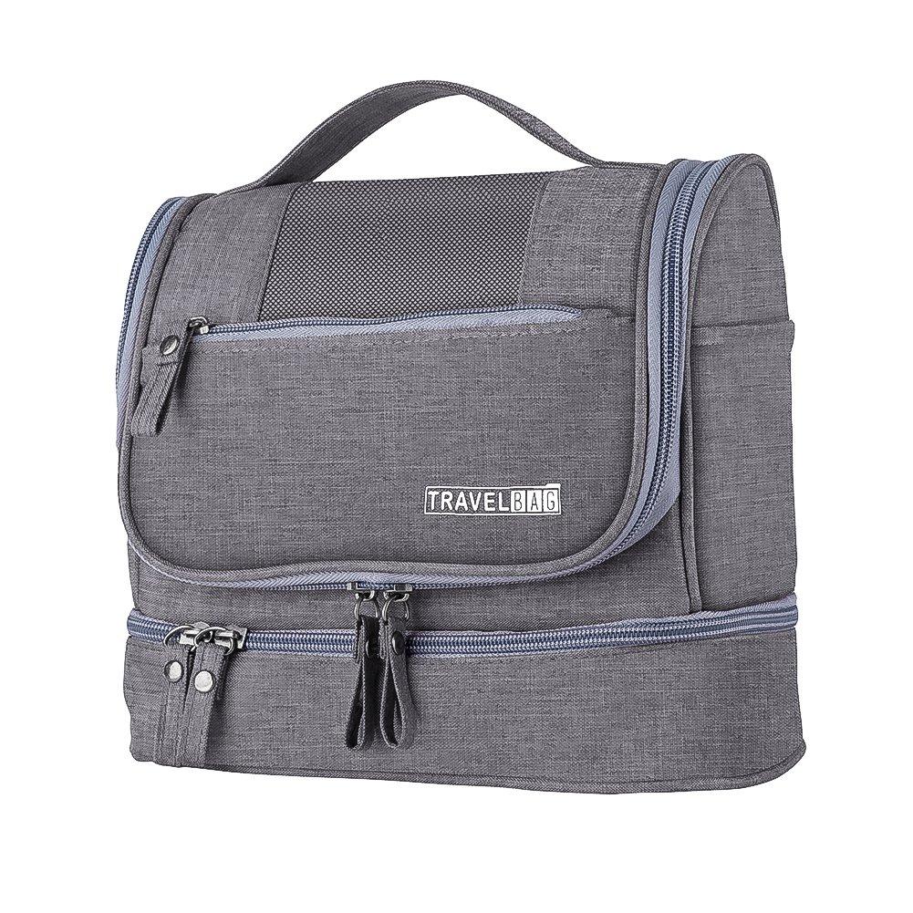 Bolsa de Viaje para Colgar, Hotchy Bolsa de Aseo Make Up Wash Bags Organizador Impermeable con Extra Hook Bolsa de separación Seca y húmeda para Hombres y Mujeres (Negro) (Azul)