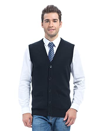 Choies Men's Slim Fit Casual V-neck Button Down Pocket Cotton Knit ...