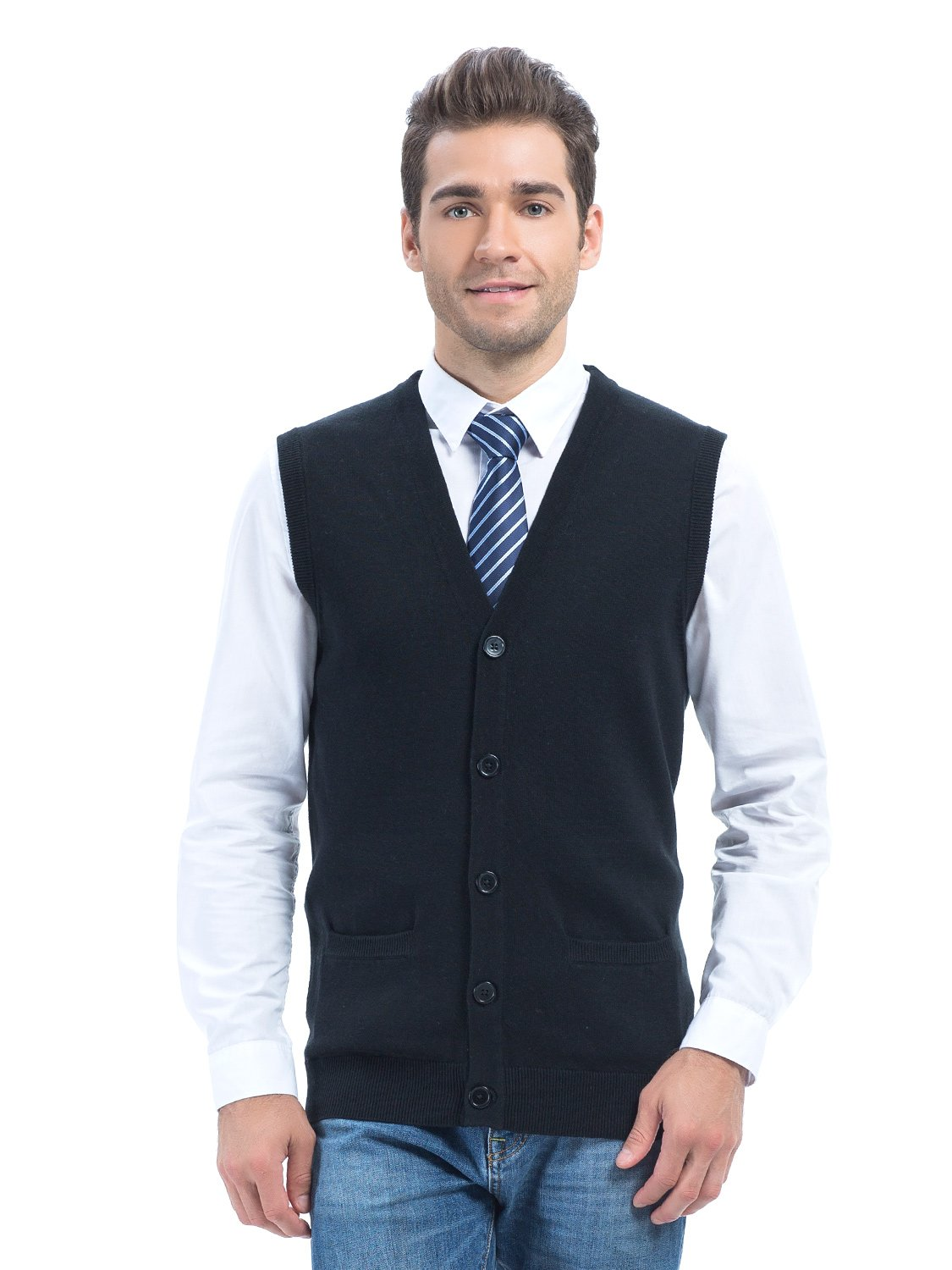 Choies Men's Black Solid V-Neck Button Down Knitted Vest With Pockets L