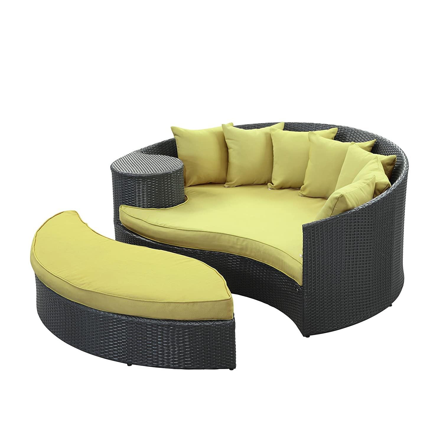 Amazon.com : Modway Taiji Outdoor Wicker Patio Daybed with Ottoman in  Espresso with Peridot Cushions : Patio Lounge Chairs : Garden & Outdoor