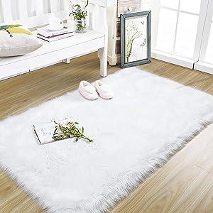 Foxmas Super Soft Faux Fur Sheepskin Area Rugs for Bedroom Living Room Plush Carpets Children Play Girls Luxury Modern Room Dorm Nursery Bathroom Floor Mat Home Decor Rug, 3ft x 5ft, Pure White