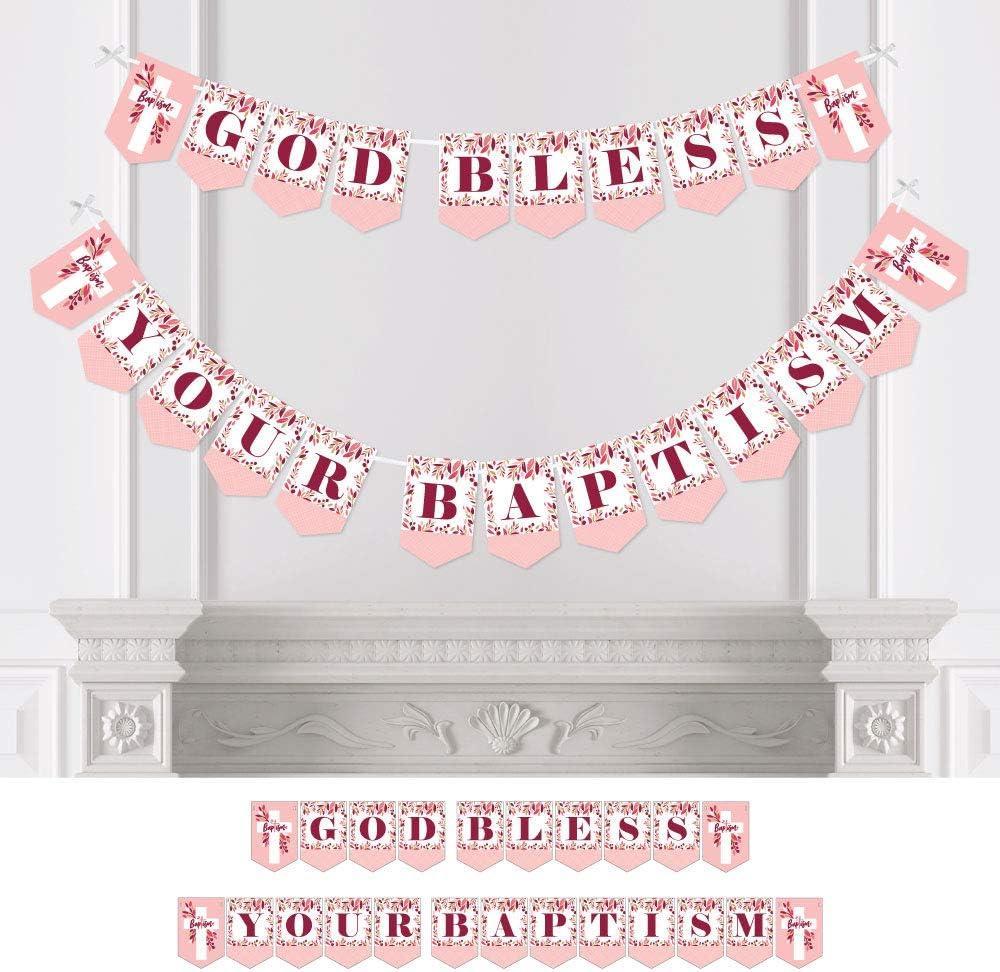 Pink Crosses Baptism Banner Decoration